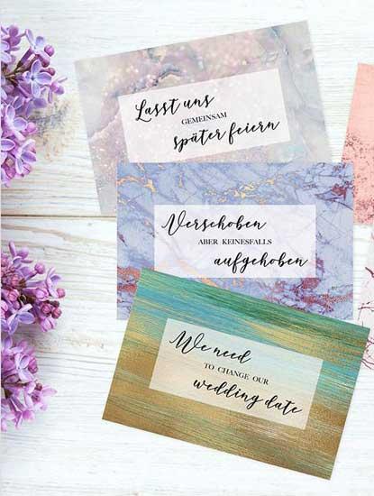 Change-the-Date Karten für die Hochzeit drucken lassen bei Dankeskarte.com