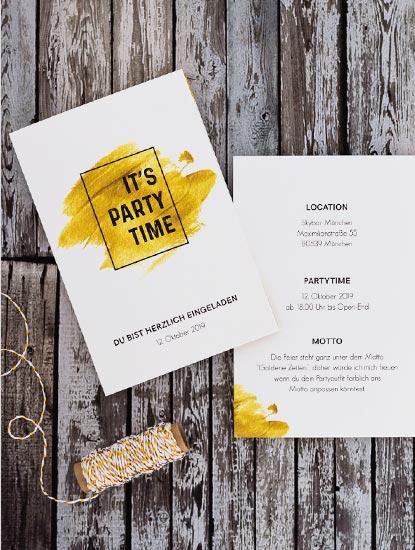 Partyeinladungen drucken lassen bei Dankeskarte.com
