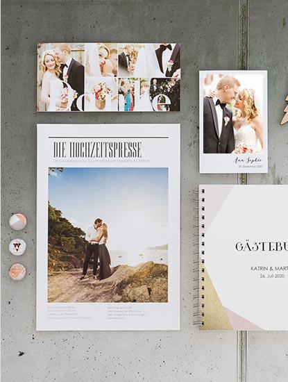 Druckprodukte für die Hochzeit von Einladungen und Dankeskarten, bis zu Menükarten, Sitzplänen und Gästebüchern von Dankeskarte.com