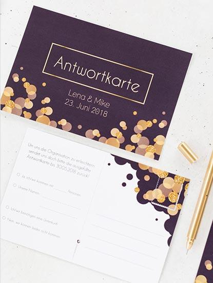 Antwortpostkarten und Antwortkarten für die Hochzeit drucken lassen bei Dankeskarte.com