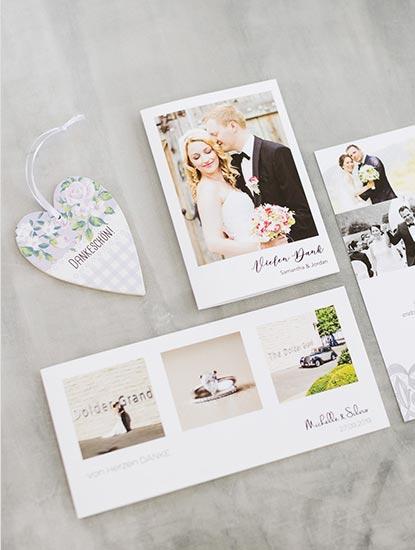 Danksagungskarten und Dankeskarten für die Hochzeit drucken lassen bei Dankeskarte.com