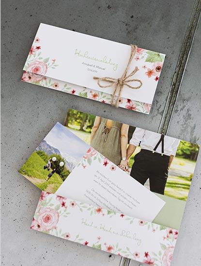 Hochzeitseinladungen drucken lassen bei Dankeskarte.com