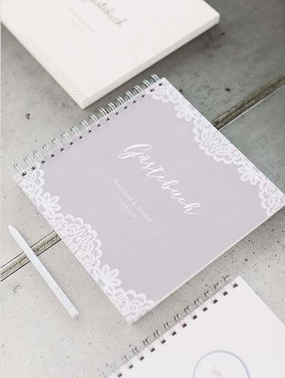 Gästebücher zur Hochzeit mit Spiralbindung, Hardcover sowie Holz- und Acrylcover drucken lassen bei Dankeskarte.com