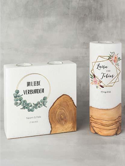 Hochzeitskerzen individuell gestalten und drucken lassen bei Dankeskarte.com