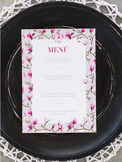 Menükarten zur Hochzeit drucken lassen bei Dankeskarte.com