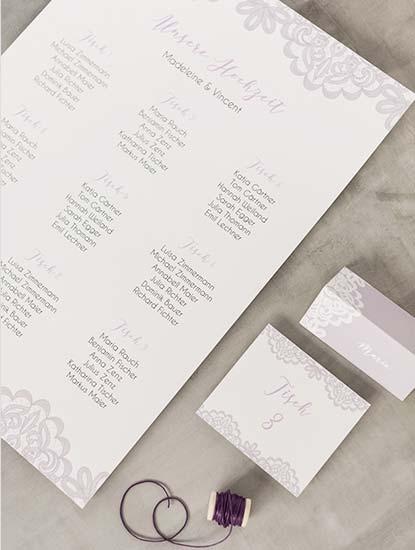 Sitzpläne für die Hochzeit drucken lassen bei Dankeskarte.com