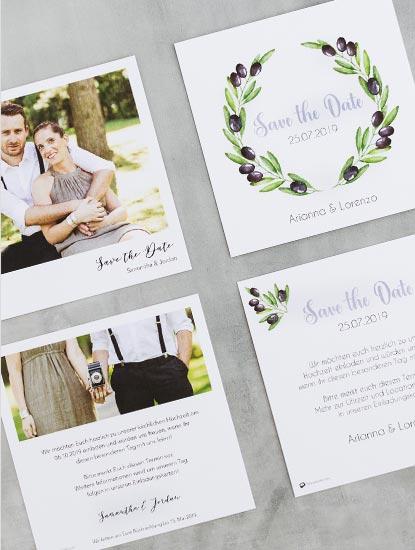 Save-the-Date Karten für die Hochzeit drucken lassen bei Dankeskarte.com